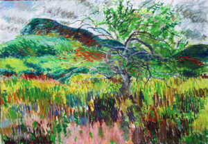 Colorful oil-crayon drawing of autumn scene: apple tree with some bare branches and some still with leaves, standing amid tall grasses in yellows, greens, reds, and pink, with a green hill and gray cloudy sky in background