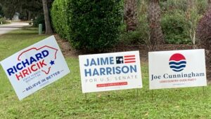 yard signs for Democratic candidates