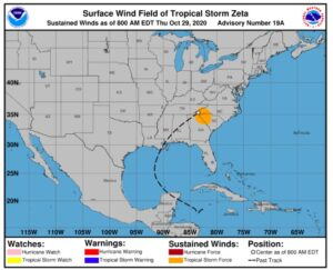 NOAA map of US and Mexico showing path of Hurricane Zeta, with western parts of North and South Carolina highlighted in orange, indicating tropical storm force at 8 am EDT on 29 October