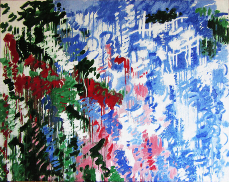 abstract painting, predominantly dark reds, greens, and black with beige-gray background towards left; lightening towards the right into pinks and blues, then blues and white with small splashes of dark green and black at upper right corner