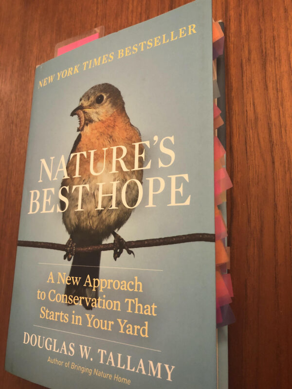 Front cover of Nature's Best Hope, by Douglas W. Tallamy, shot from side perspective showing numerous orange and pink flags marking pages
