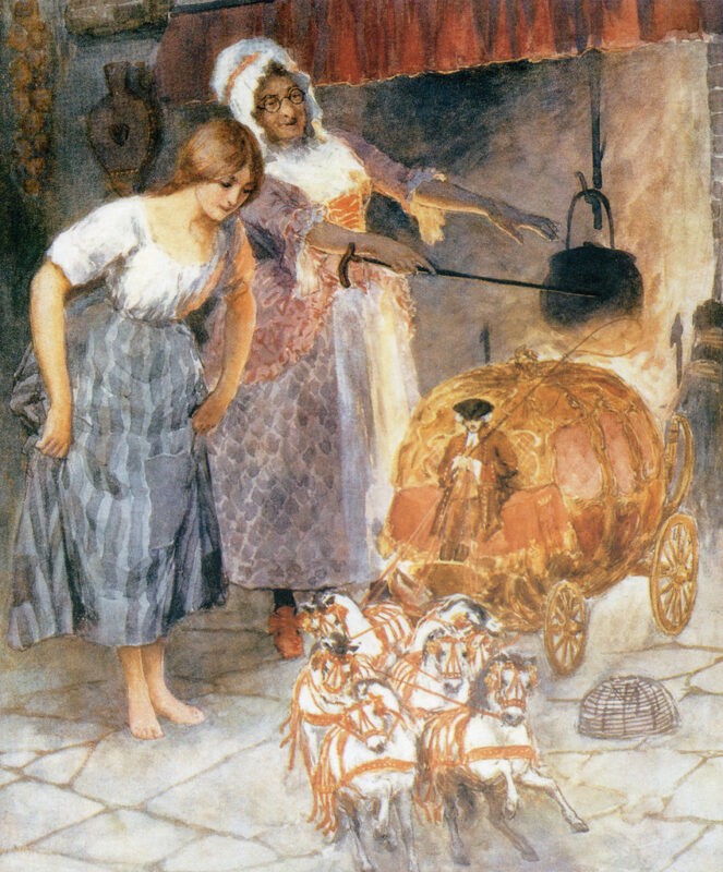 Old painting of Cinderella in kitchen with fairy godmother turning pumpkin and mice into carriage and horses