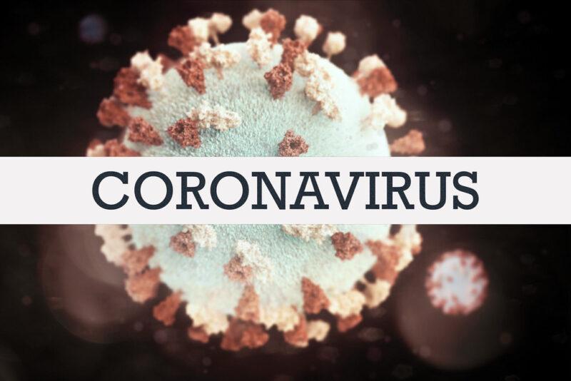 "Image of coronavirus as white ball with red spikes, with horizontal label across the center reading ""CORONAVIRUS"""